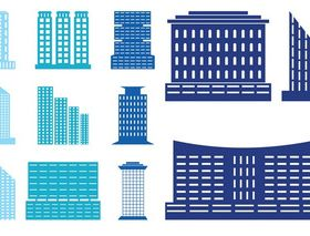 Modern Buildings Set vectors graphic