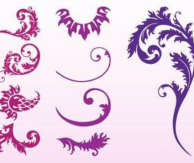 Swirling Plant Set vectors graphics