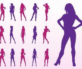 Fashion Model Silhouettes art vector