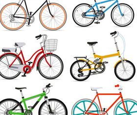 Different Color Bicycles vector set