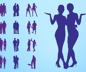People In Couples Silhouettes art vector design