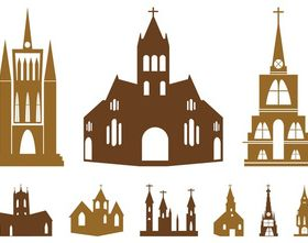 Church Silhouettes Set vectors