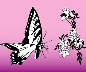Butterfly And Flower Graphics art Illustration vector