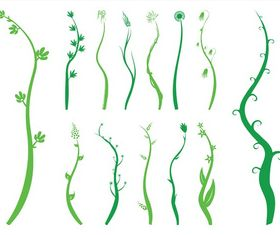 Waving Plants Silhouettes art design vectors
