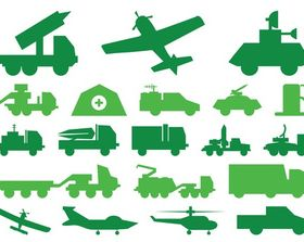 Military Vehicles Graphics art set vector