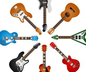 Different Guitars free set vector