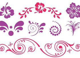 Exotic Flower Scrolls vectors graphics