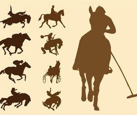 Equestrian Sports Silhouettes art vector