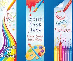 Back To School Banners art set vector