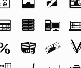 Silhouette Banking Icons vector