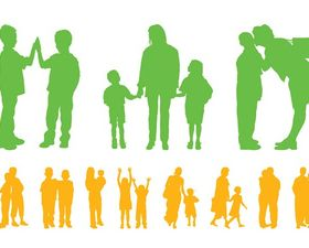 Children And Parents Silhouettes set vector