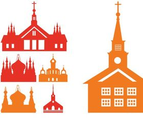 Churches Silhouettes art vector set