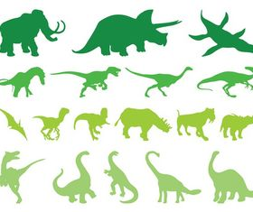 Prehistoric Animals Silhouettes art vector