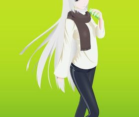 Pretty Anime Girl vector
