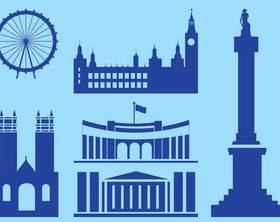 London Landmarks Silhouettes art creative vector