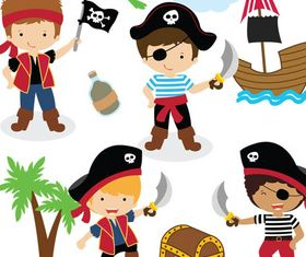 Cartoon Pirates graphic design vectors