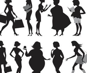 Female Different Silhouettes Art set vector