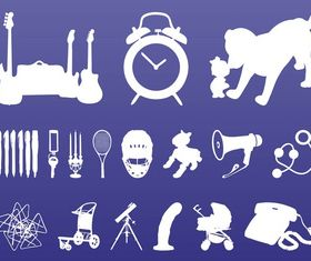 Random Objects Silhouettes vector material