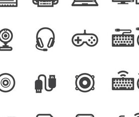Computers Black Icons vectors