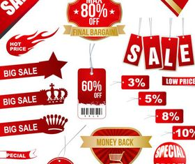 Red Bright Sale Elements art vector