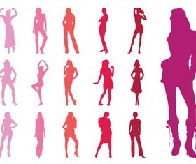 Fashion Models Silhouettes Collection art vector graphics