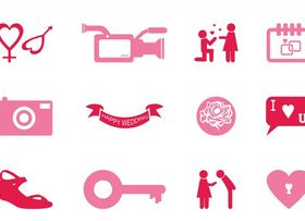 Wedding Icons Graphics vector