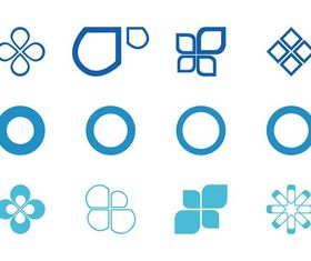 Abstract Circles And Icons set vector