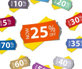 Discount Shiny Stickers creative vector