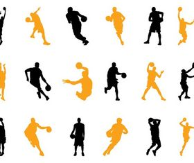 Basketball Players Silhouettes art vector material