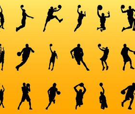 Basketball Player Silhouettes art Illustration vector