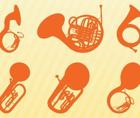 Brass Instruments Silhouettes art vector