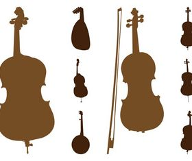 String Instruments Silhouettes art creative vector