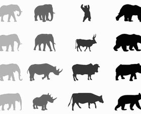 Animals Silhouettes vector material