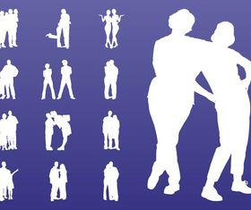 People In Groups Silhouettes art vectors graphic