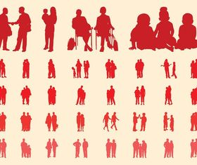 People In Groups Silhouettes Set shiny vector