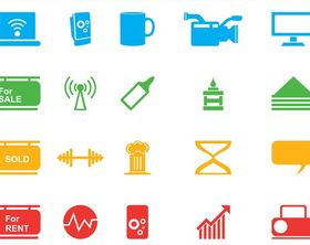 Icons Graphics Set vectors graphics