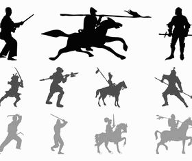 Warriors And Knights Silhouettes vector