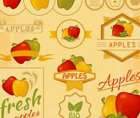 Fruits Color Labels creative vector