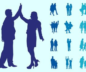 People In Couples Silhouettes Graphics vector