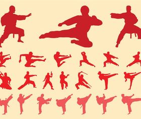 Martial Arts Silhouettes art Illustration vector