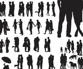 Silhouettes families vector design