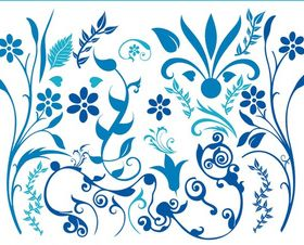 Blue Flower Swirls free vector