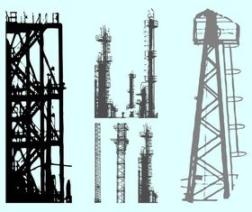 Scaffolds Silhouettes free vector
