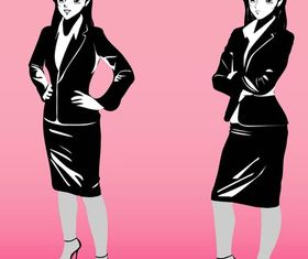 Cartoon Business women art Illustration vector