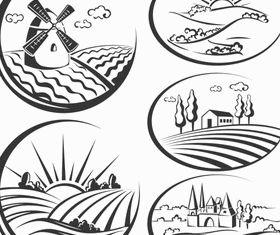 Landscapes Logo set vector