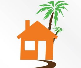 House And Palm Tree vector
