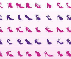 High Heel Shoes art set vector