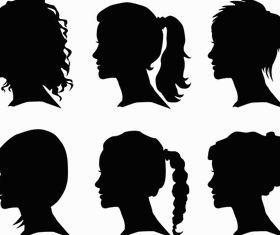 Women Face Silhouettes art vectors material