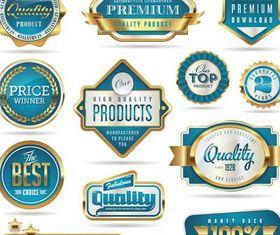 Luxury Blue Labels set vector