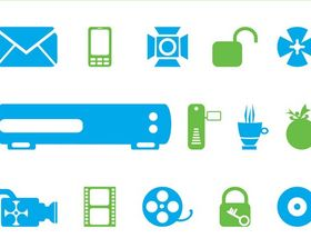 Tech Symbols And Icons art vector